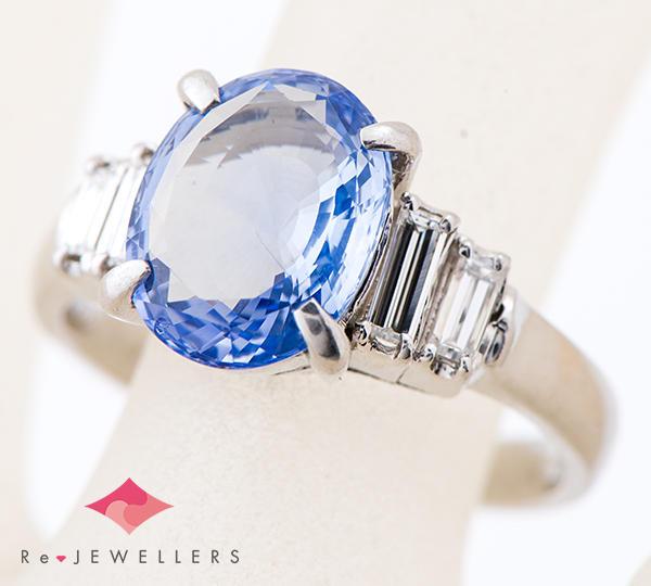 [写真]ブルーサファイア4.23ct ダイヤモンド計0.45ct プラチナ850 リング【買取相場】