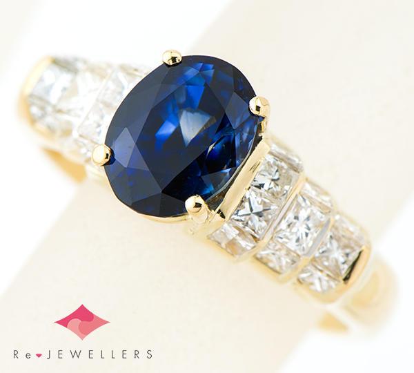 [写真]ブルーサファイア2.82ct ダイヤモンド計1.00ct 18金 リング【買取相場】