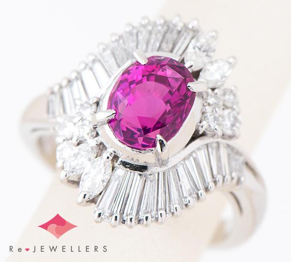 [写真] 非加熱ピンクサファイア2.11ct ダイヤモンド計1.07ct プラチナ900 リング【買取相場】