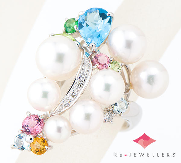 [写真]アコヤ真珠 マルチストーン ダイヤモンド計0.07ct プラチナ900 リング【買取相場】