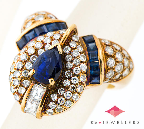 [写真]ブルーサファイア1.31ct ブルーサファイア計0.75ct ダイヤモンド計1.23/0.24ct 18金 リング【買取相場】
