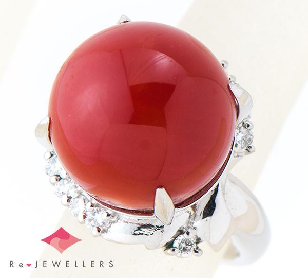 [写真]サンゴ(珊瑚)約14.5mm ダイヤモンド計0.25ct プラチナ900 リング【買取相場】