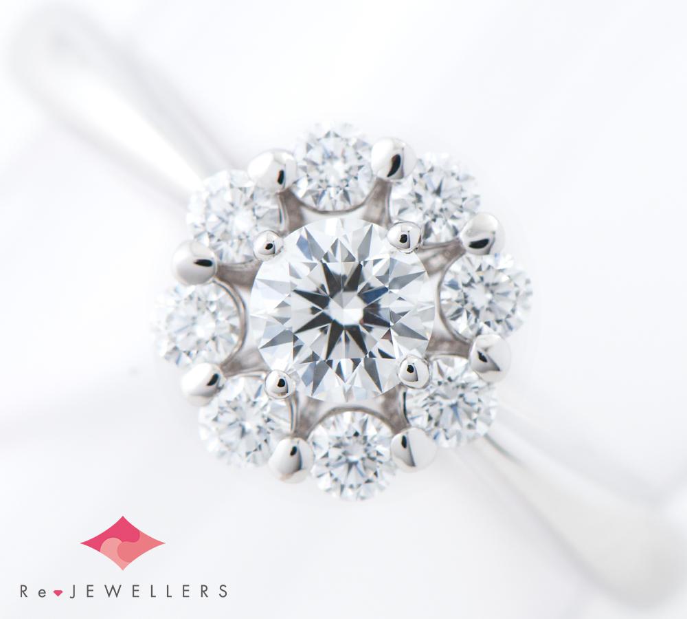 [写真]田崎真珠 ダイヤモンド0.23ct ダイヤモンド 計0.25ct K18WG リング【買取相場】