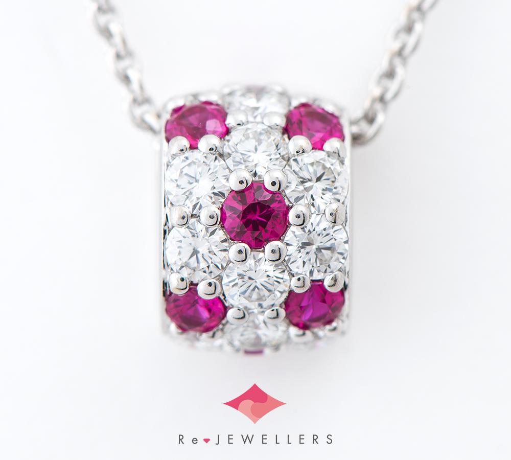 [写真]ミキモト パヴェ ルビー計0.31ct ダイヤモンド 計0.45ct 18金ホワイトゴールド ペンダント・ネックレス【買取相場】